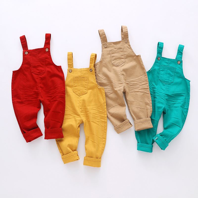 9m-4t Kids clothing Cotton Baby Long Pants Overalls Girls Boys Jeans Jumpsuit Children   Rompers   Toddler Clothes High Quality