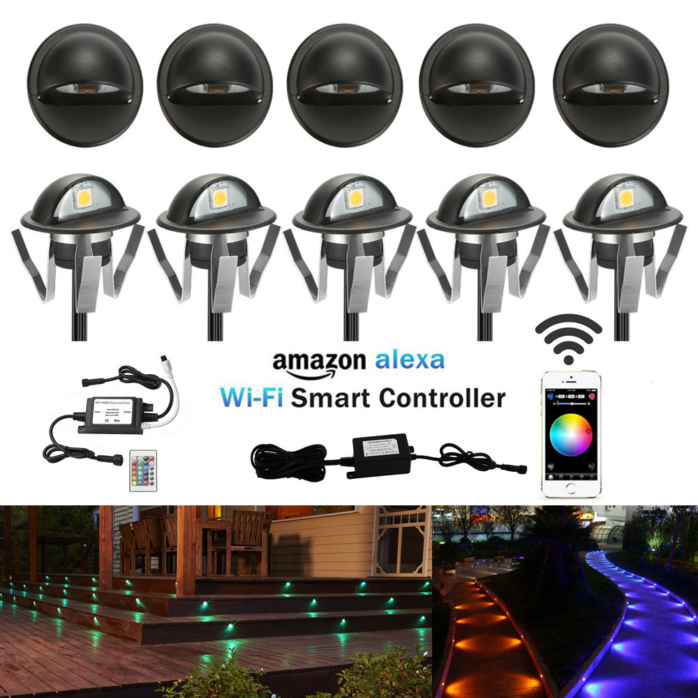 Lights & Lighting Able 30pcs Smart Home Wifi Controller 50mm Rgb 12v 1w Low Voltage Coppering Half Moon Led Deck Stair Post Light Step Fence Wall Lamp