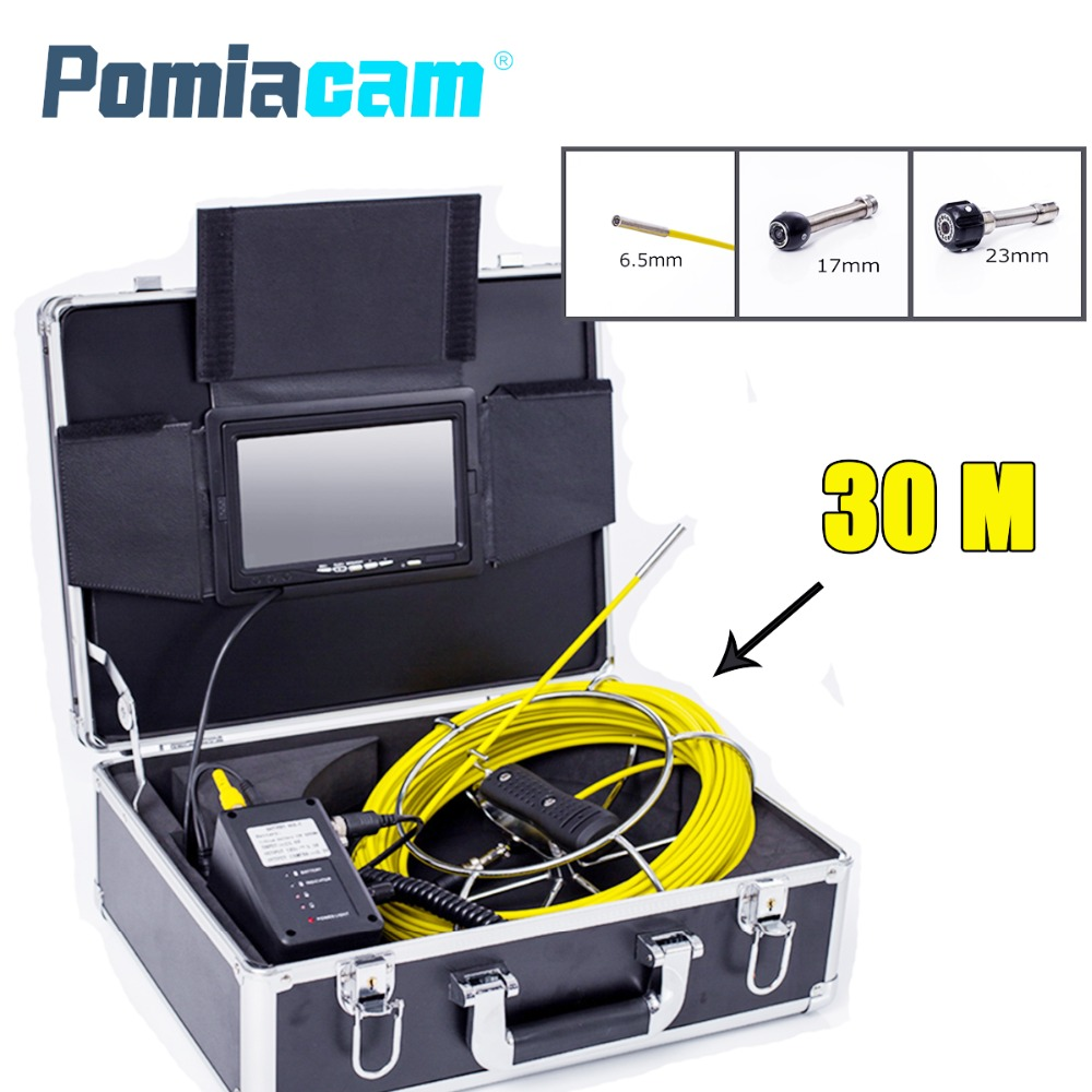 WP70 30M/100ft Cable Underwater Duct Cleaning Tube Pipe Inspection Camera Drain Waterproof Pipe Sewer Camera image