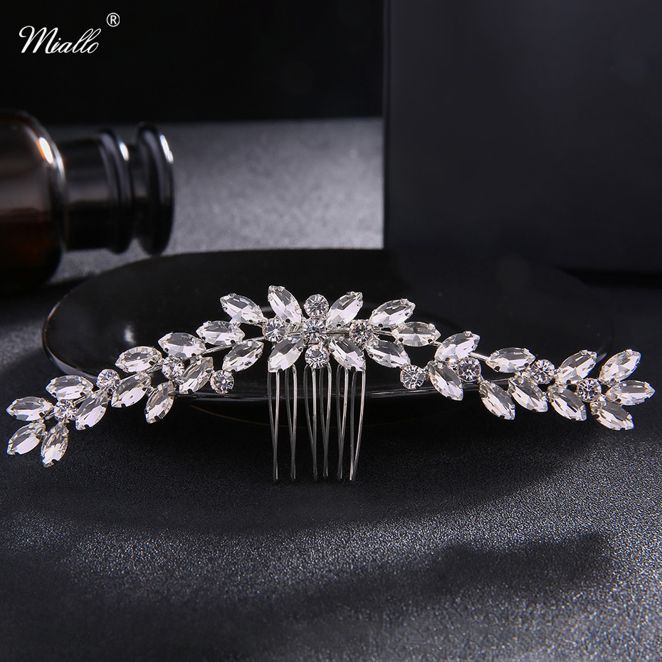 Miallo Austrian Crystal Stone Hair Combs Fashion Hair Jewelry Accessories Wheat Shape Hair Clips Hairpieces for Home Women