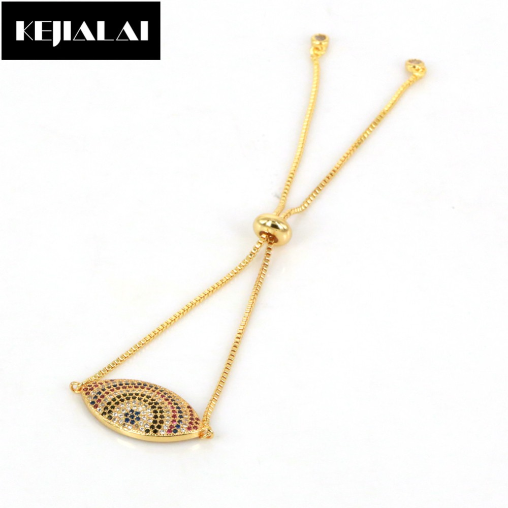 Fashion Jewelry Women Bracelet Evil Eye Charm Pave with Cubic Zirconia Chain & Link Bracelet Sweet Style for Girls Fashion Gift