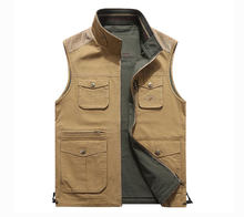 2018 New Sleeveless Jackets Cotton Vest Waistcoats Both Side Wear Stand Collar Casual Cargo Military Tanks Pockets Business(China)