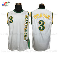 2017 Cheap Throwback Basketball Jerseys 3 Allen Iverson Jersey White Bethel High School Bruins Stitched Shirts