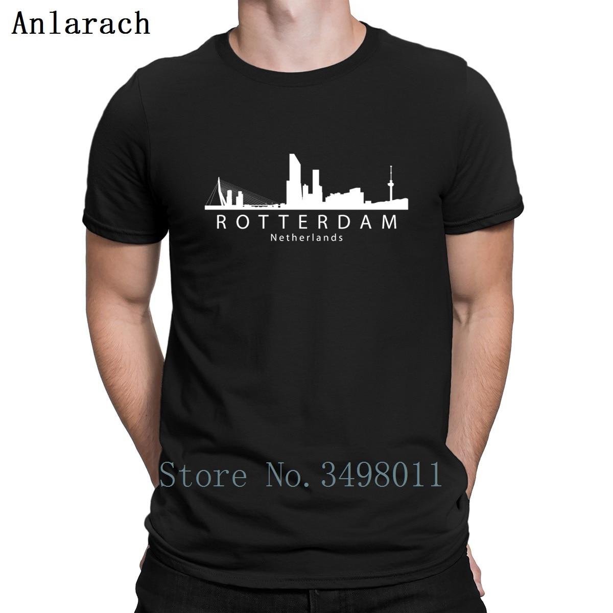 Rotterdam Netherlands Skyline T Shirt Character Cotton O Neck Basic Solid Interesting New Style Spring Autumn Standard Shirt