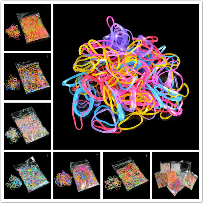 1000Pcs/Bag Cute Baby TPU Hair Holders Office  Rubber Bands Strong Elastic Stationery Holder Band Loop School Office Supplies