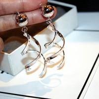 Future technology geometrica orecchini lunghi di colore dell'oro esagerato orecchini per le donne, palla liscia grandi orecchini di goccia pendientes