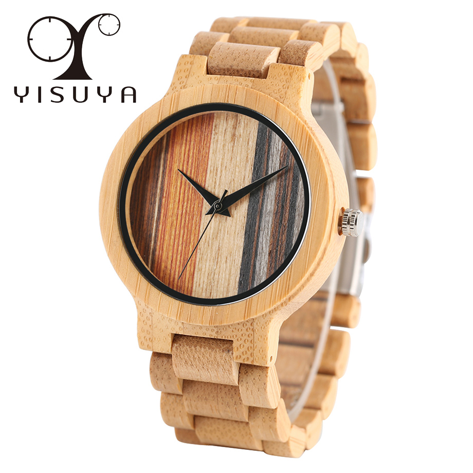 YISUYA Male Nature Bamboo Wood Simple Quartz Wrist Watch Men Gift Full Wooden Fold Clasp Bangle Watches