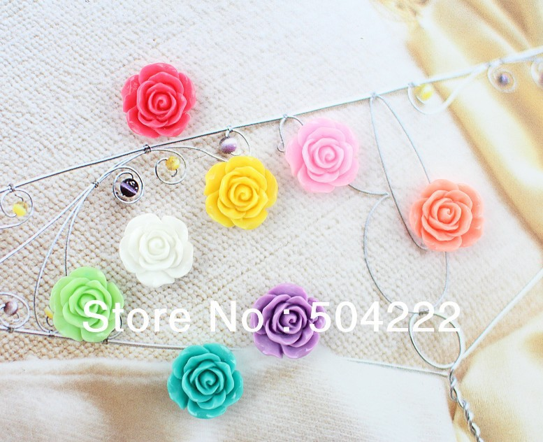 Set of 100pcs lovely rose flower resin Cabochons (18mm) Cell phone decor 4af65423dbfb