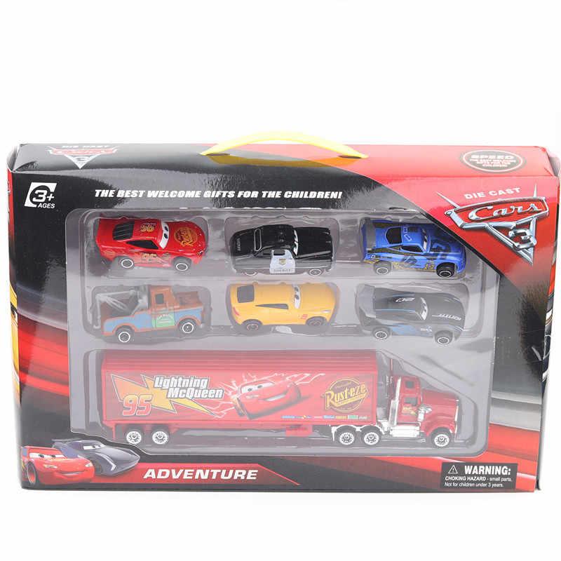 Disney Pixar Cars 3 игрушки Lightning McQueen Jackson Storm Mack Uncle Truck 1:55 литой модельный автомобиль для детей игрушки Бесплатная доставка