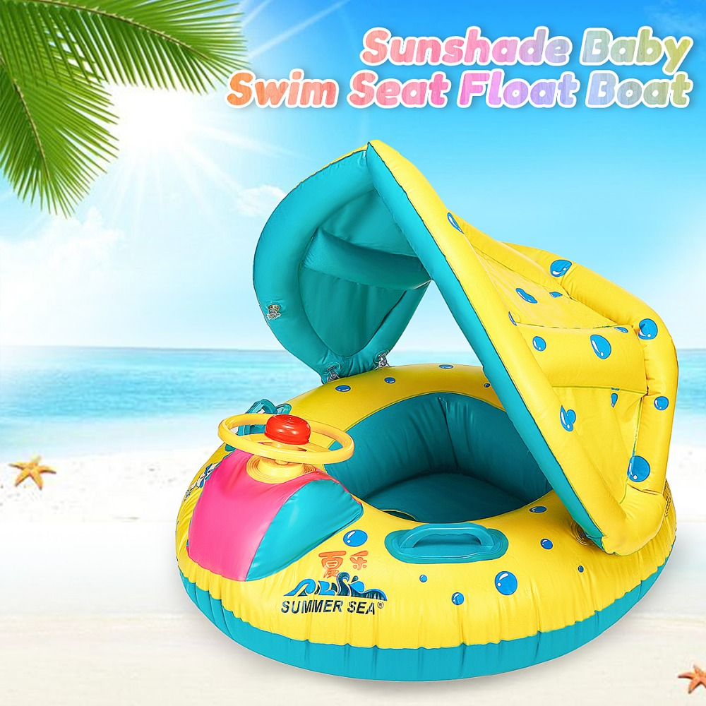 2016 New 1pcs Safety Baby Infant Swimming Float Inflatable Adjustable Sunshade Seat Boat Ring Swim Pool Load-bearing 15 KG