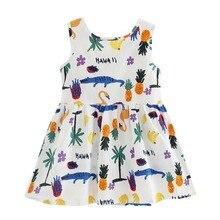 2018 Летнее платье для маленьких девочек без рукавов принт хлопок Vestidos детская одежда для принцессы День рождения