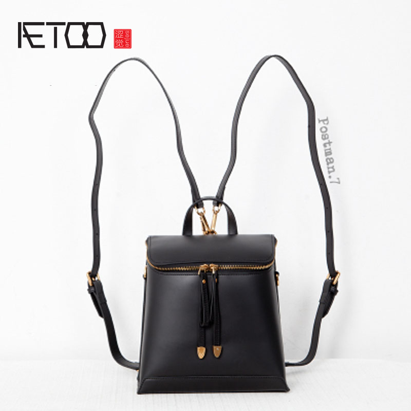 AETOO Autumn and winter new shoulder bag female Korean version of the school wind bag patent leather travel backpack aetoo first layer of leather shoulder bag female bag korean version of the school wind simple wild casual elephant pattern durab