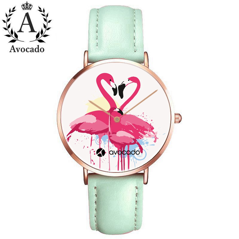 Fashionable Cartoon Watches Flamingo Family Pink Green Leather Strap Quartz Watch For Women Female Ladies Girl Clock Gift Kids