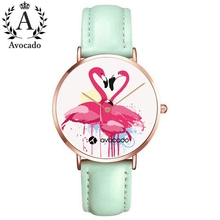 Fashionable cartoon watches flamingo family pink green leather strap quartz watch for women female ladies girl clock gift kids цена и фото