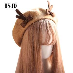 Image 1 - 소녀 봄 겨울 베레모 모자 귀여운 사슴 경적 양모 베레모 여성 Bowknot 화가 스타일 모자 여성 보닛 따뜻한 산책 모자 antlers