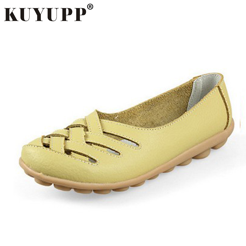 KUYUPP Women's Leather Shoes Loafers Casual Moccasin Hollow out Driving Shoes Indoor Flat Slip-on Slippers Big Size34-42 SDT181 summer men real leather casual slip on hollow out loafer mules open back slippers slides shoes