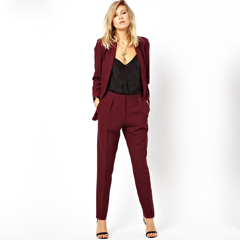 New Blazer OL Work To Wear Formal Jacket Pants Suit Women Business Burgundy Office Uniform Ladies Suits 2 Piece Set Female
