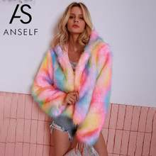Women Winter Coat Shaggy Faux Fur Jacket Colorful Rainbow Print Hooded Long Sleeve Cool Streetwear Multicolor Faux Fur Coat 2019(China)