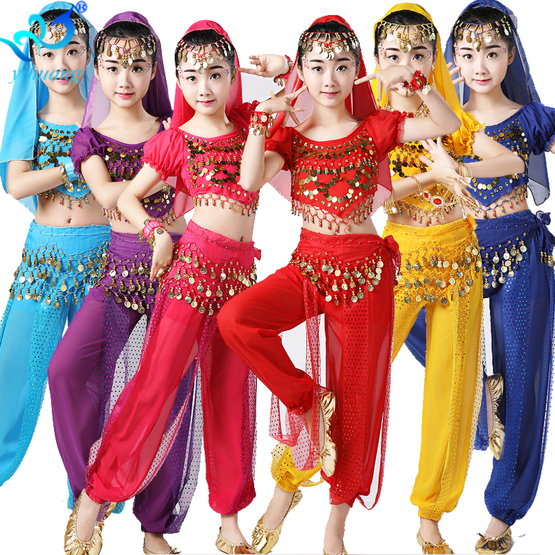 Girls Indian Dance Costume Stage Performance Set Children Belly Dancing Suit Carnival Performance Outfits Coins&Beads 6 Colors