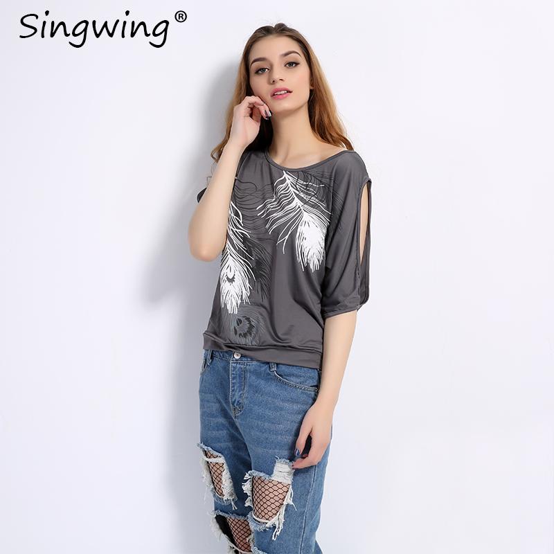 HTB1LtI9RVXXXXbJXFXXq6xXFXXXu - Summer Women Feather Printed T-shirts O- neck Strapless Shirts Off Shoulder