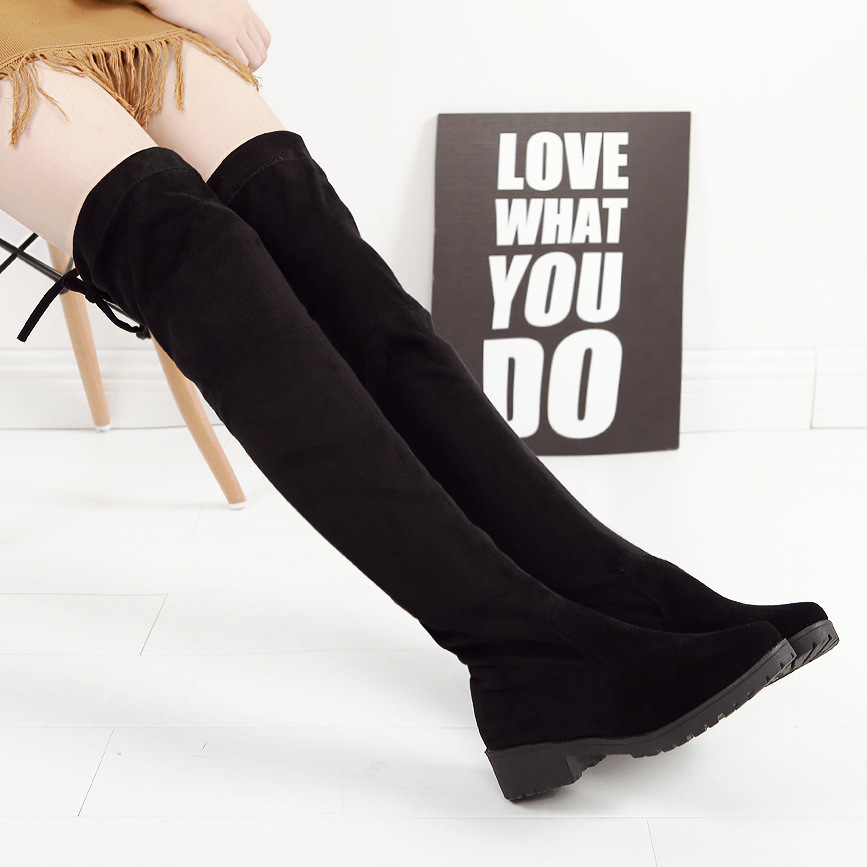 2018 New Hot Women Boots Autumn Winter Ladies Fashion Flat Boots Suede Over The Knee Thigh High Boots Sexy Women Long Boots