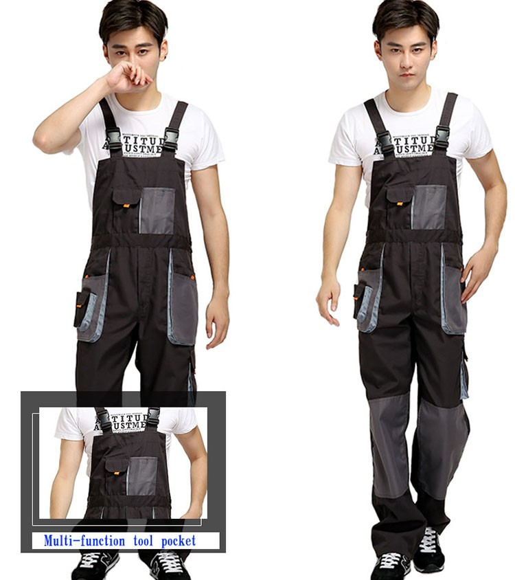 CCGK bib overalls men work coveralls protective repairman strap jumpsuits pants working uniforms plus size sleeveless coverall (8)