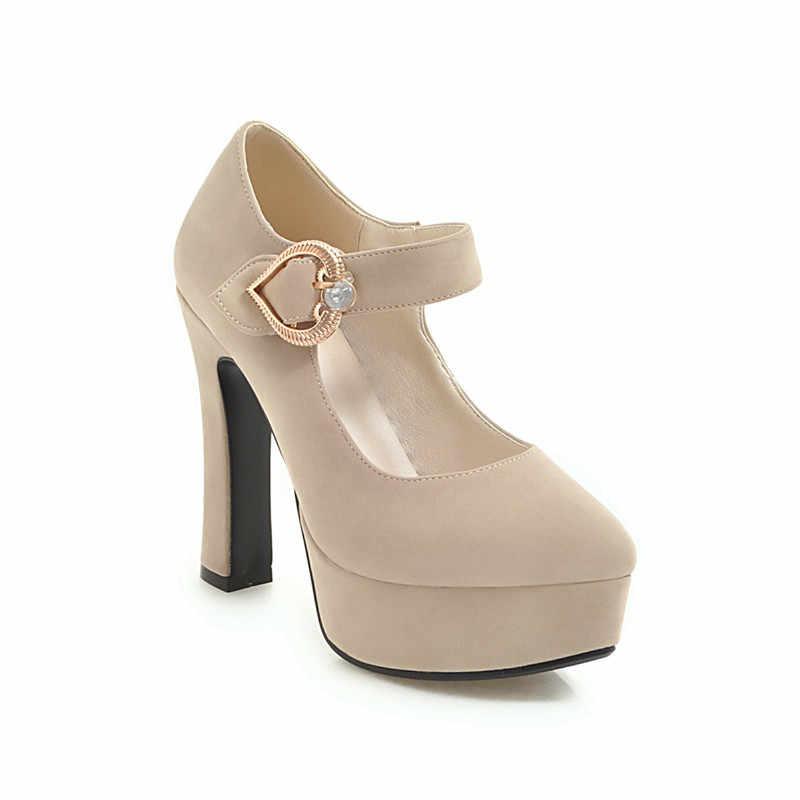 YMECHIC 2019 אביב ג 'יין נעלי פלטפורמת עקבים גבוהים אדום שחור משרד המפלגה אישה נעליים עקב גבוהה משאבות בתוספת גודל 43