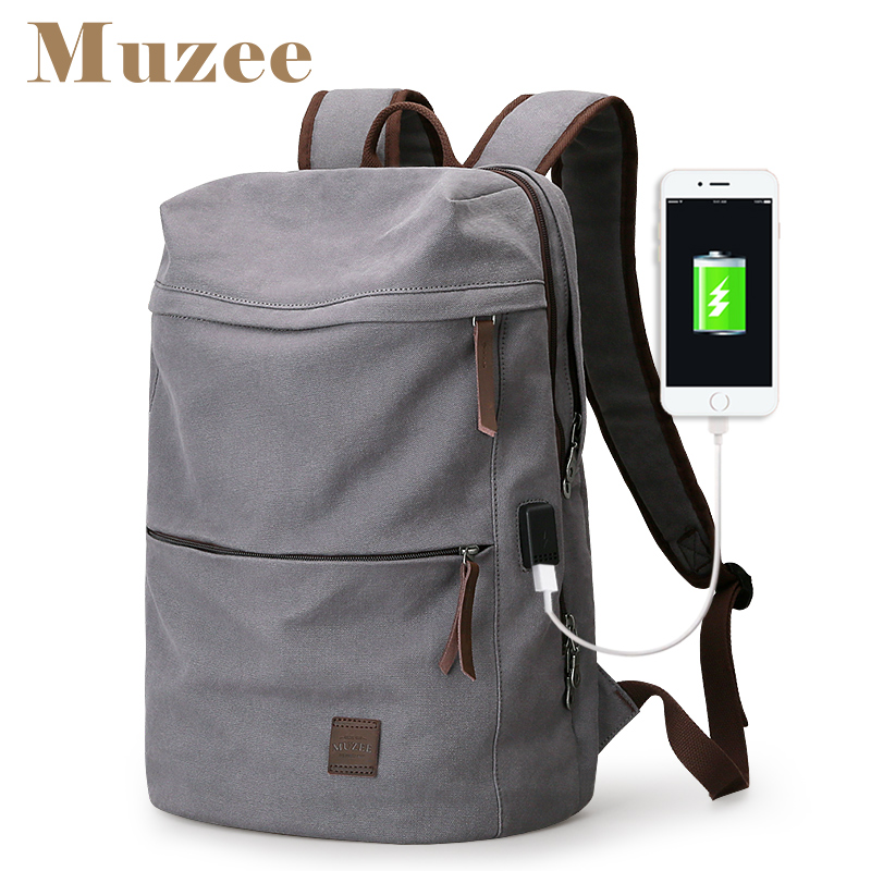 Muzee 2018 New Canvas Backpack USB Design Backpack Men male Student Bag for Weekend Mochila suit for 15.6 inches Latop backpack
