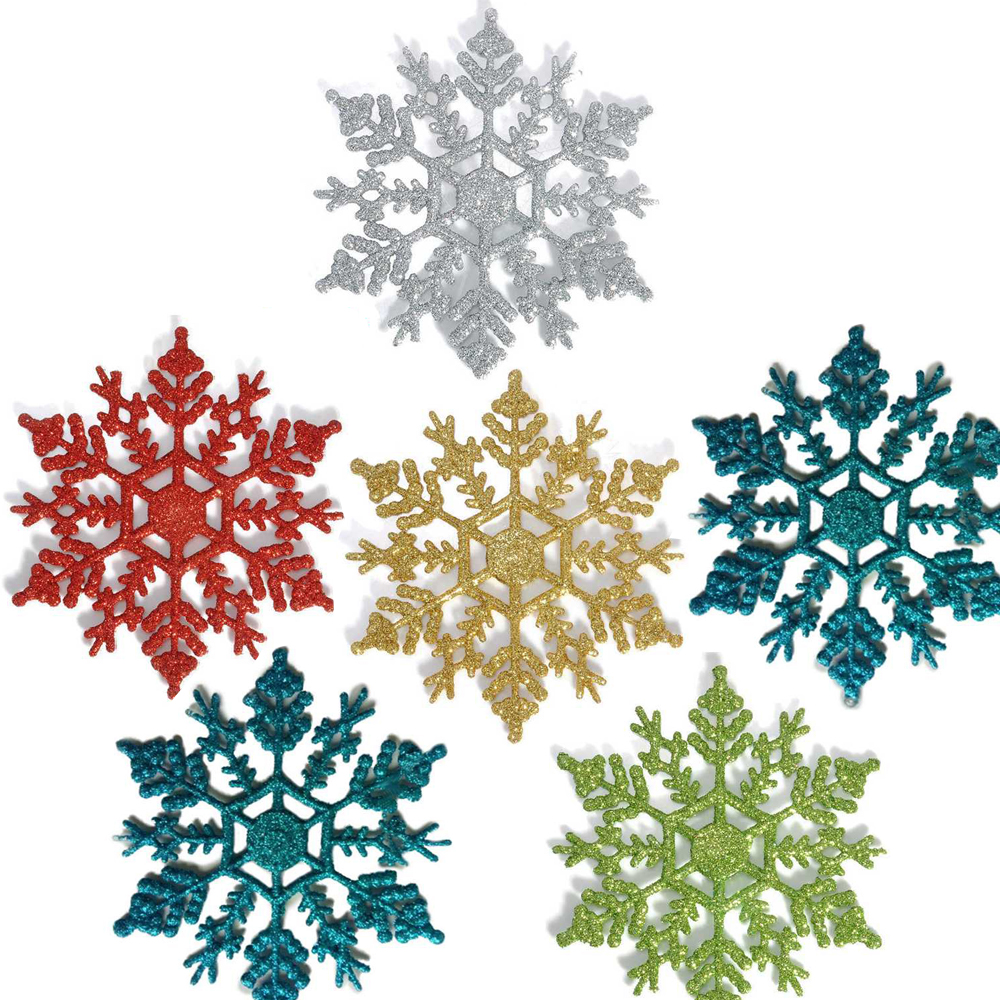 best 12 pcs glitter snowflake christmas ornaments xmas tree hanging decoration silvergoldred - Snowflake Christmas Decorations