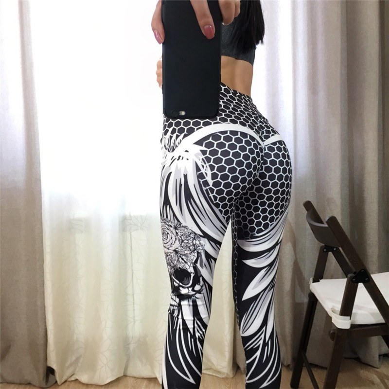 CHRLEISURE Women Leggings High Waist Geometric Honeycomb Angel Wing Print Hip Breathable Polyester Trousers Leggings Women