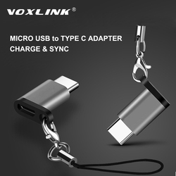 VOXLINK Micro USB To TypeC Adapter Alloy Case Android Micro USB Connector To Type C For Huawei For Xiaomi With Keychain Adaptors