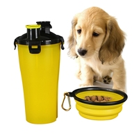 Dog Water Bowl And Cup Set 350ml 250g Plastic PortableWater Bottle Pet Dog Food Feeder Outdoor