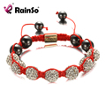 RainSo Hot Shamballa Bracelet Woman Jewelry Friendship Bracelets Beaded Rope Chain with Rhinestones for Gift