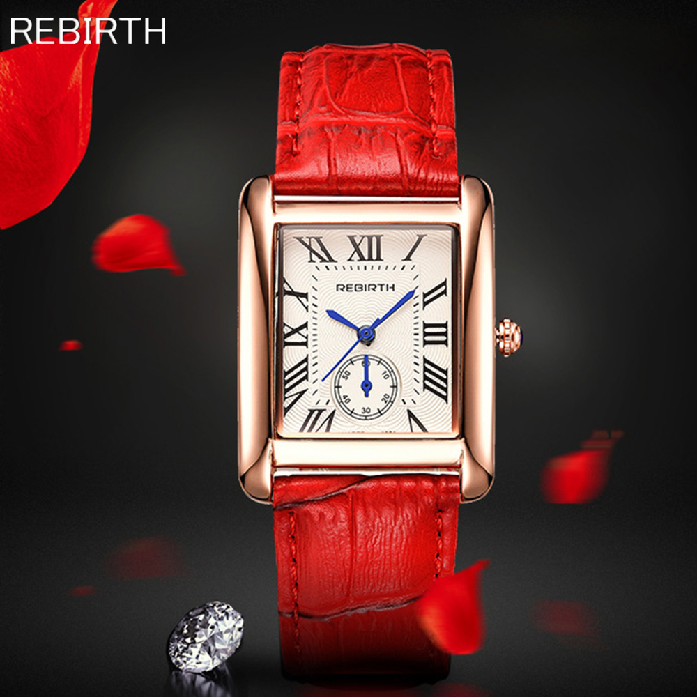 REBIRTH Brand Elegant Retro Watches Women Luxury Leather Strap Quartz Watch Fashion Rose Gold Ladies Wristwatches Montre Femme timesshine women s wristwatches elegant retro watches women quartz watch casual genuine leather strap clock for ladies fw02