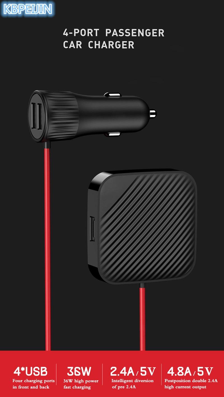 Adaptateur rapide de siège avant et arrière de voiture USB avec câble d'extension pour Peugeot 307 308 207 3008 2008 407 508 206 208 accessoires - 2