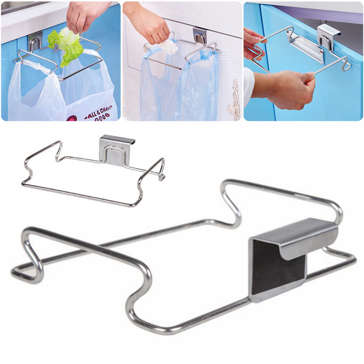 JX-LCLYL New Cabinet Door Back Hanging Holder Rack Organizer For Trash Towel Bag Kitchen ...