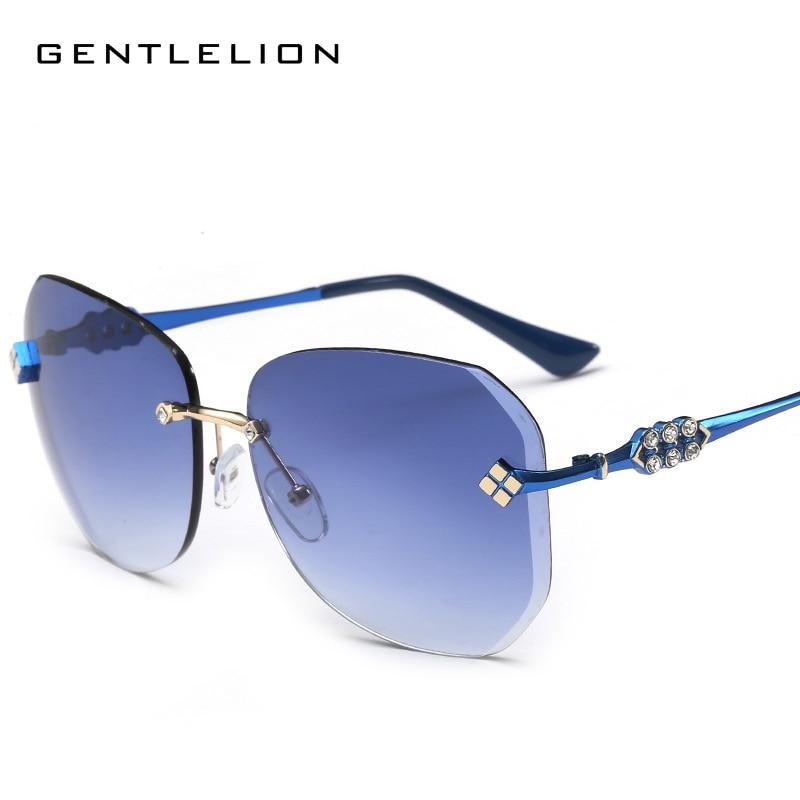 2017 New Big Frame Women Sunglasses Fashion Gradient Rimless Sunglasses Mirror Sun glasses For women 933