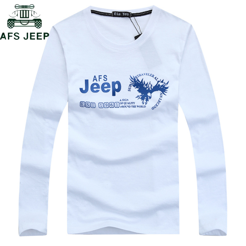 <font><b>AFS</b></font> JEEP Brand Summer Military T Shirt Men Cotton Long-sleeved Letter O Neck <font><b>Tshirts</b></font> Men Tops Tees Plus Size 5XL tee shirt homme image