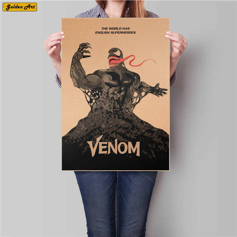Venom movie Retro kraft paper poster retro bar cafe home vintage wall sticker print picture decoration 45.5x31.5cm