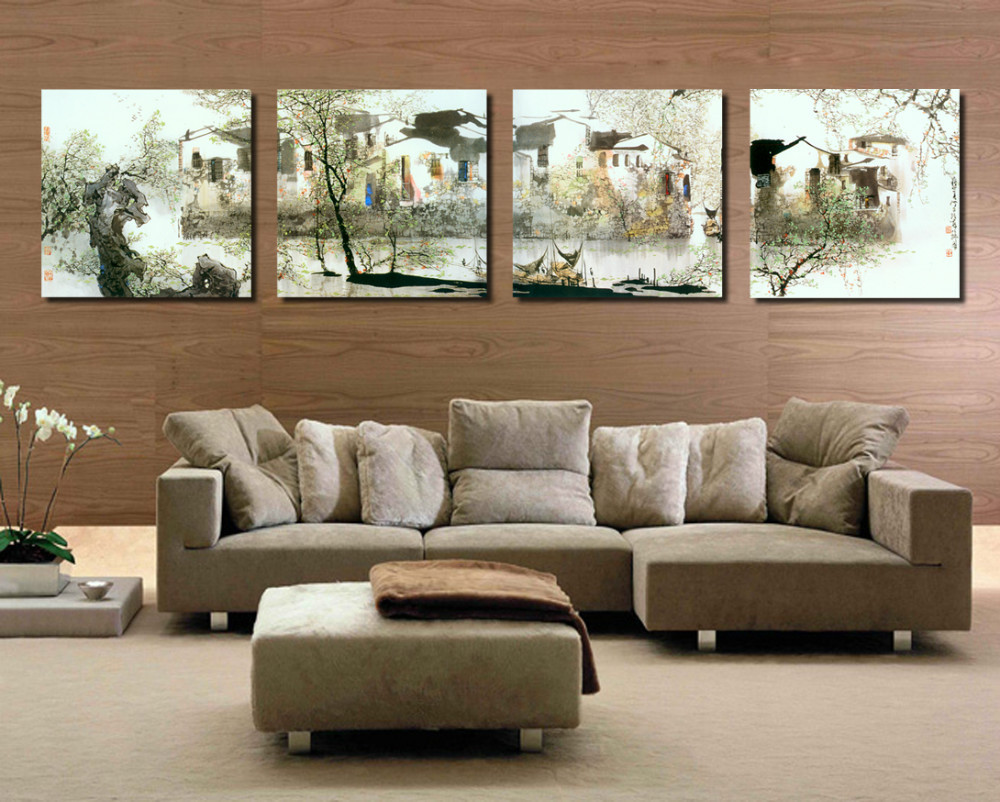 Framed 4 panel large chinese style wall art southern landscape oil framed 4 panel large chinese style wall art southern landscape oil painting on canvas home decoration picture a1200 in painting calligraphy from home solutioingenieria Images