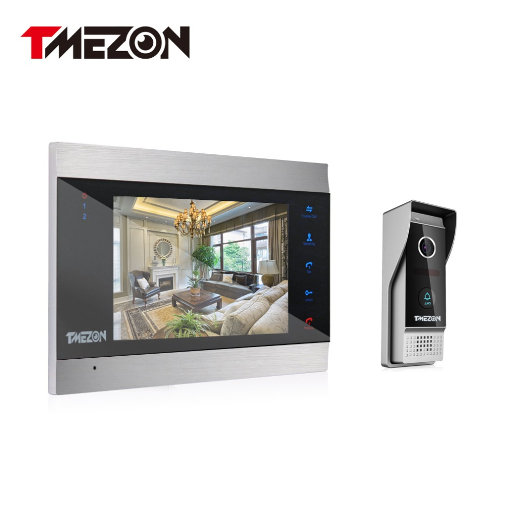Tmezon Video Door Phone System 7 TFT Monitor With TF Card Slot 1200TVL Outdoor Doorbell Camera Auto-IR Night Vision 1v1 Kit tmezon 4 inch tft color monitor 1200tvl camera video door phone intercom security speaker system waterproof ir night vision 4v1