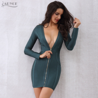 Adyce 2017 New Women Long Sleeve Summer Bandage Dress Vestidos Front Zipper V Neck Nightclub Evening