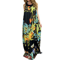 Boho 2017 Women Sleeveless Floral Print Beach Party Long Maxi Dress Summer Ladies Tunic Loose Casual