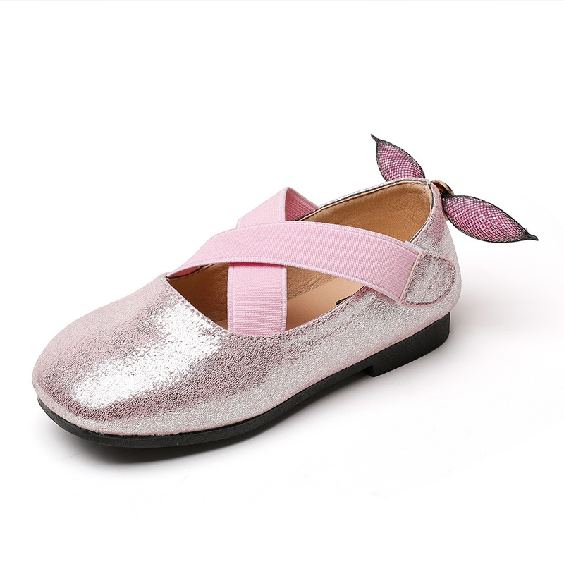 2017 Newest Baby Girls Leather Shoes Autumn Wear Female Children Soft Bottom Flat Shoes Bead Bowknot