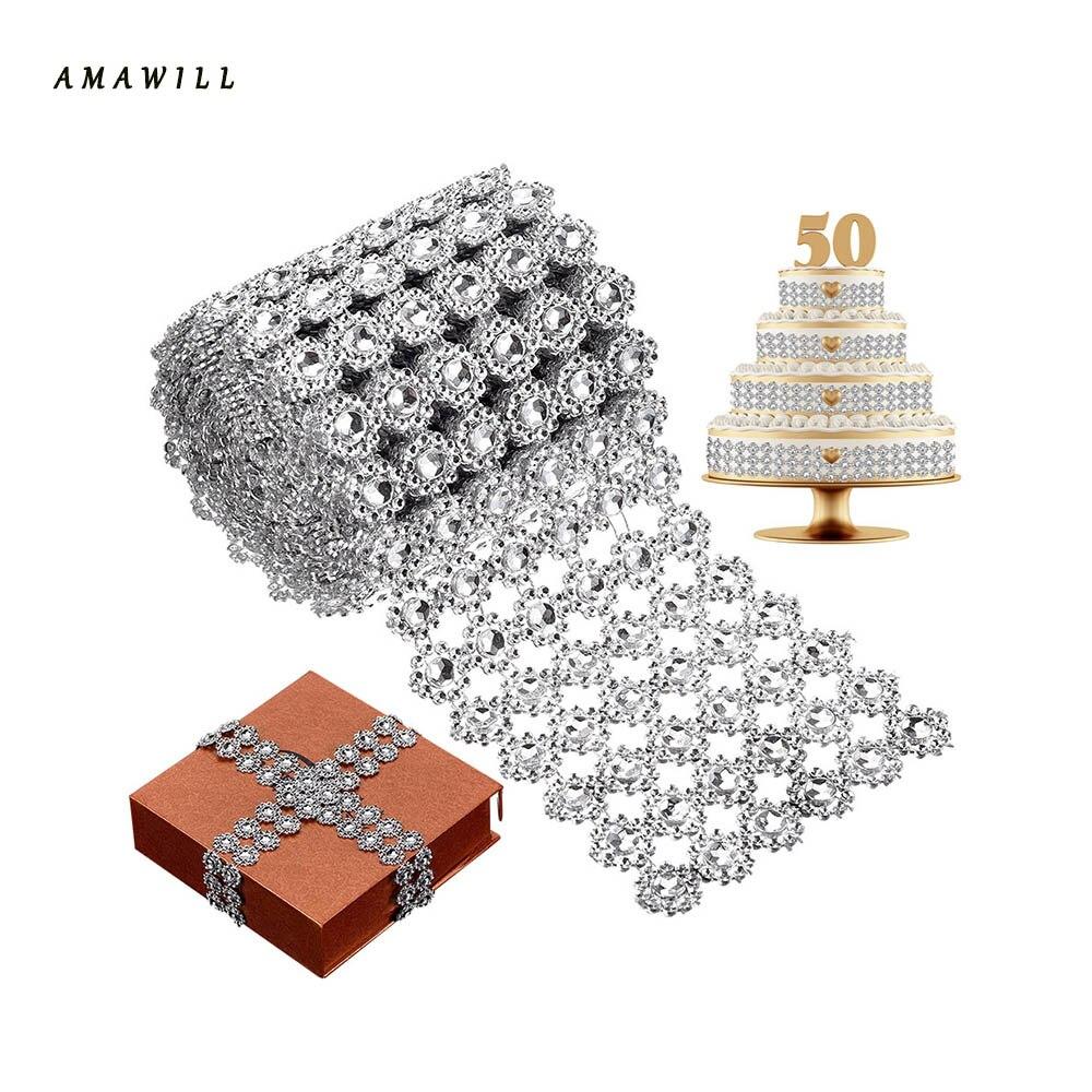 1.8m Sunflower Diamond Mesh single row Bling Crystal Ribbon Wrap ...