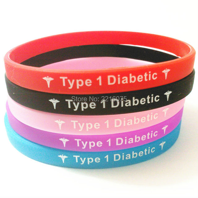 500pcs Skinny Medical Alert Type 1 Diabetic Insulin Dependent Wristband Silicone Bracelets Free Shipping By Dhl