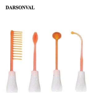 Image 4 - DARSONVAL 4 pièces haute fréquence Tubes en verre du visage masseur de cheveux électrode baguette remplacement acné détachant Orange Ray soins du visage