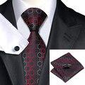 C-584 Negro Dimgray Estampado Geométrico Rojo Corbatas Para Los Hombres 2015 Nuevo Diseñador de Mariage Sociales de Negocios Corbatas de Hombre de Partido conjuntos