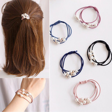 10pcs/lot Pearls Women Headbands Elastic Hair Bands Rubber Rope Ponytail Holder Girls gum for Scrunchies Accessories