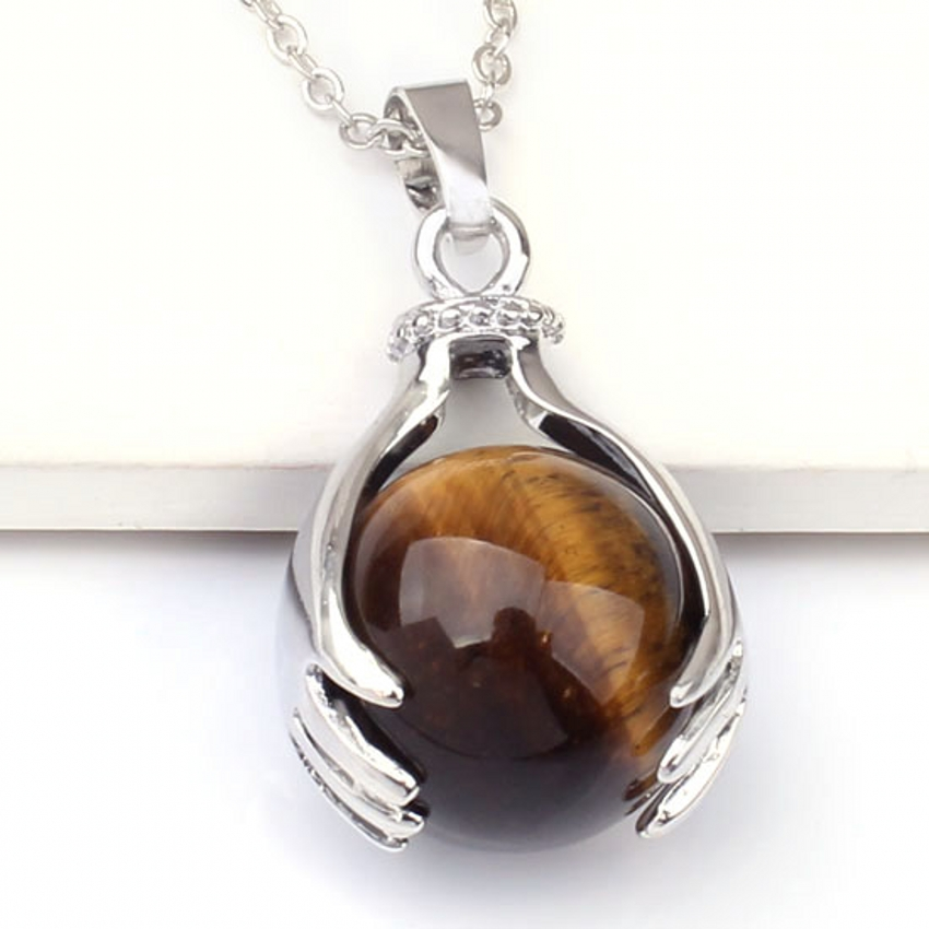 wholesale 10Pcs Charm individuality Tiger's eye precious stone Round Bead Hand shape Pendant Jewelry for Necklace